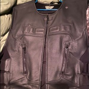 Leather riding vest